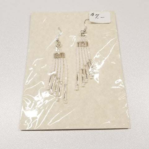 Large Beaded White Dangle Earrings | Annette Stonefish-Kelty