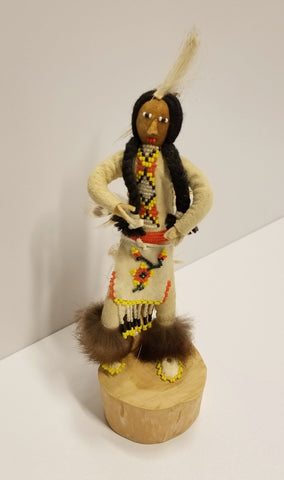Beaded Doll on Wooden Base