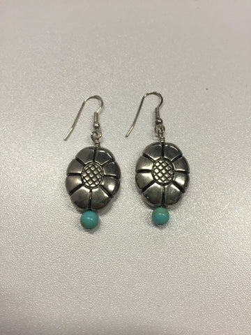 Silver and Turquoise Flower Earrings | From Albuquerque