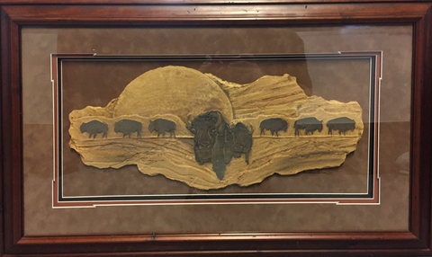 """Buffalo Song"" - Framed Slate Carving 