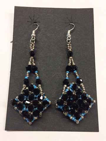 Black & Blue Ornate Earrings | R. Betsol