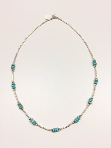Beaded Blue Stone Necklace