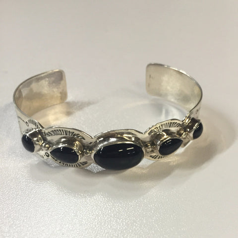 Silver and Black Stone Bracelet | From Albuquerque