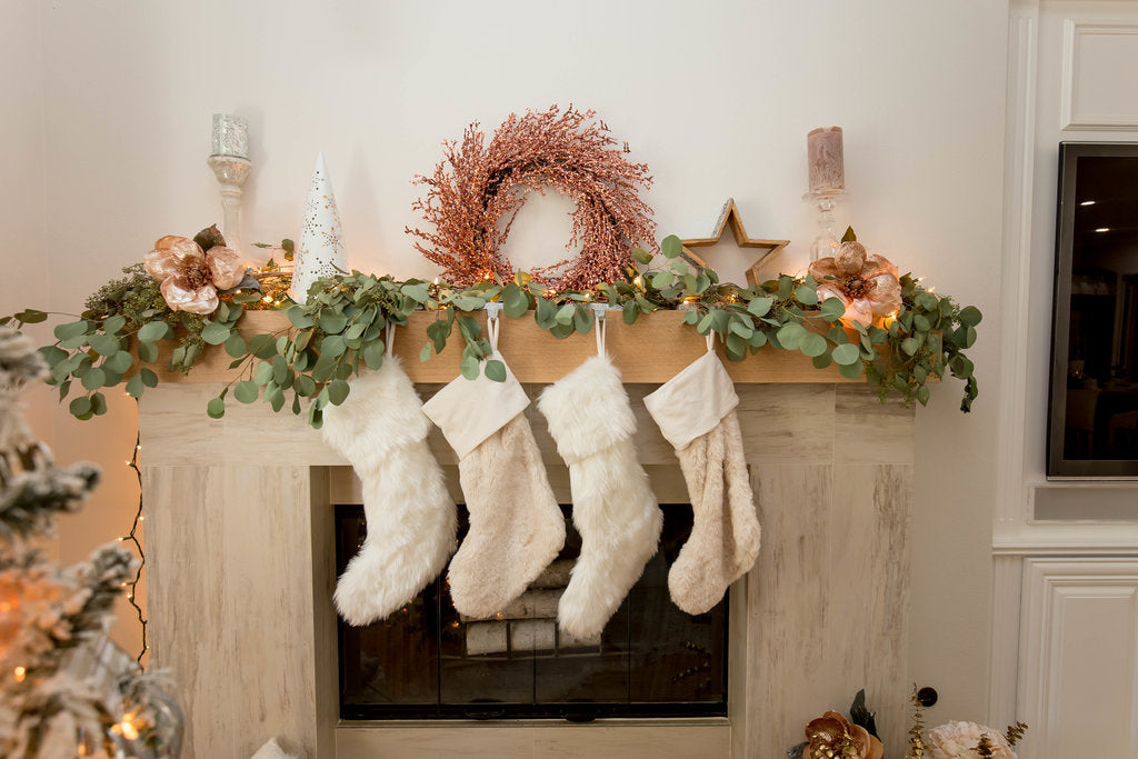 Holiday mantle display by Bashery & Co.