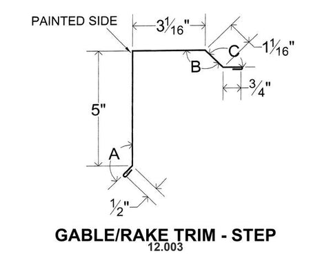 (40 Yr 26 Ga) 10ft GABLE/RAKE TRIM - STEP 12.003