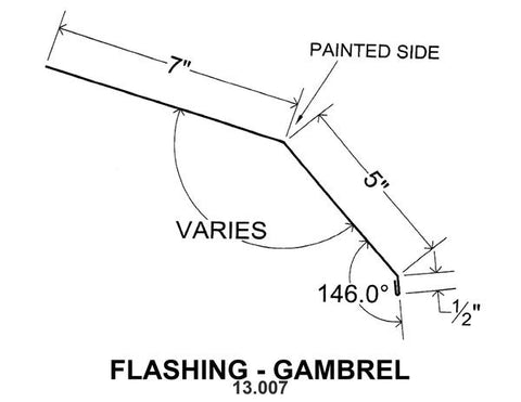 (40 Yr 26 Ga) 10ft FLASHING - GAMBREL 13.007