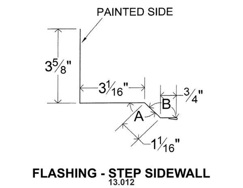 (40 Yr 26 Ga) 10ft FLASHING - STEP SIDEWALL 13.012