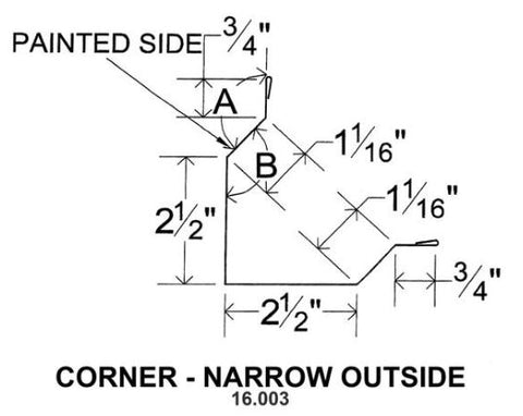 (40 Yr 26 Ga) 10ft CORNER - NARROW OUTSIDE 16.003