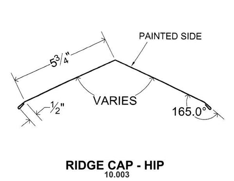 (40 Yr 26 Ga) 10ft RIDGE CAP - HIP 10.003