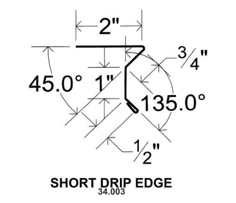 (40 Yr 26 Ga) 10ft DRIP EDGE - SHORT 34.003