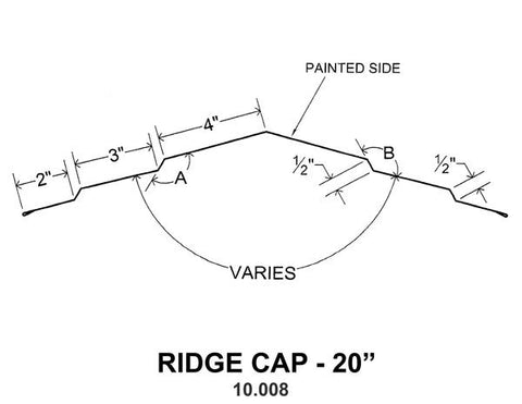 "(40 Yr 26 Ga) 10ft RIDGE CAP - 20"" 10.008"