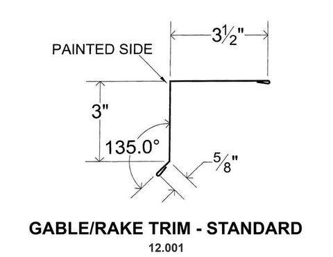 (40 Yr 26 Ga) 10ft GABLE/RAKE TRIM STANDARD 12.001
