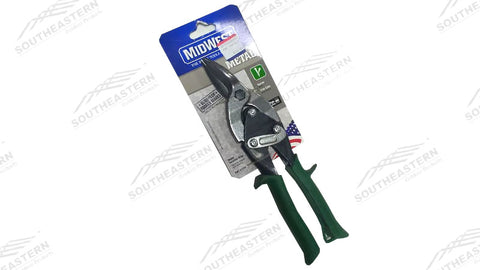 Green Handled Metal Snips  (Cuts straight and to the RIGHT)