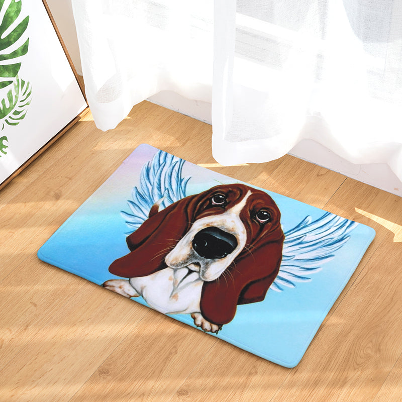 Basset Hound Dog Angel Door Mat