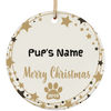 Personalized Pup Christmas Circle Ornament