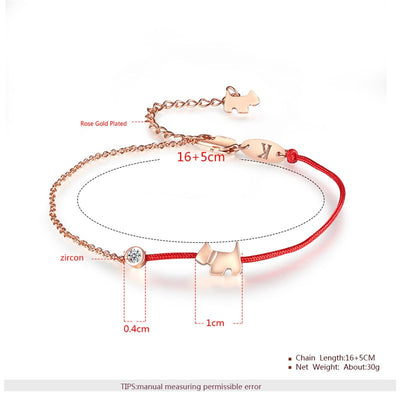 Dog Charm Red Rope Bracelet