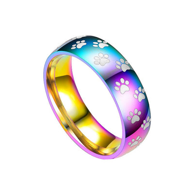 Rainbow Paw Print Ring (Stainless Steel)