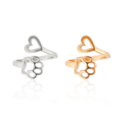 Delacroix & Sons Heart & Paw Dog Lover Ring