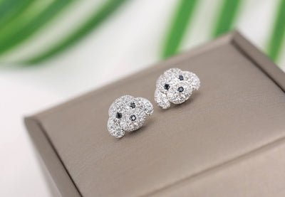 Silver Rhinestone Dog Stud Earrings