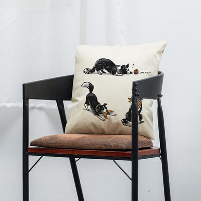 Border Collie Vintage Cotton Throw Cover