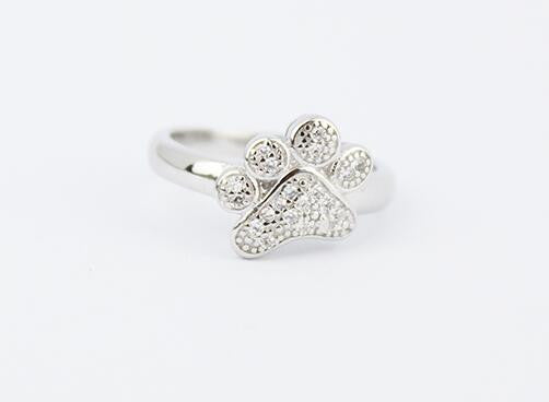 925 Sterling Silver Paw Print Ring