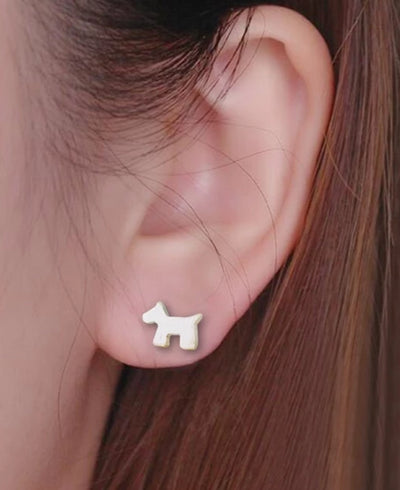 Modern Silver Pup Earrings