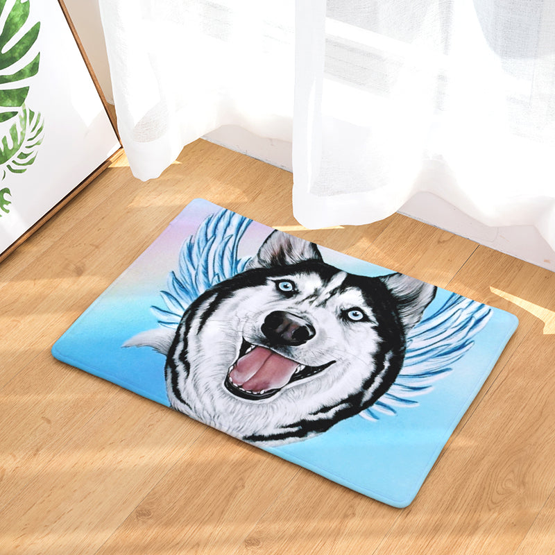 Siberian Husky Angel Dog Door Mat