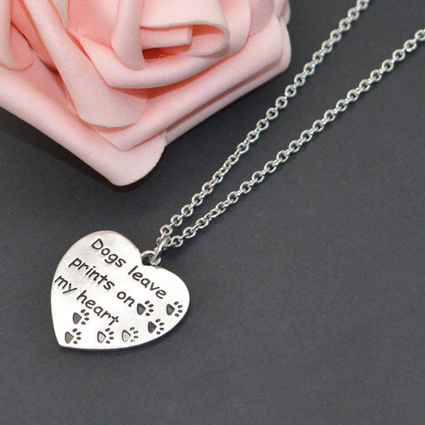 "Dog Necklace - ""Dogs Leave Prints On My Heart"" Pet Memorial Necklace"