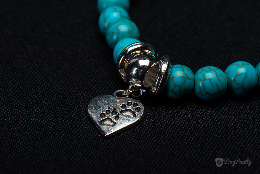Dog Tag Beads Turquoise Silver Bracelets Dog Lovers Statement Pet Paw Print