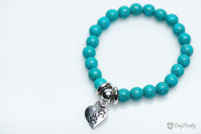 """Paw Prints On My Heart"" Turquoise Bracelet"