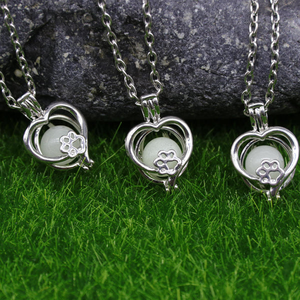 'Paws on My Heart' Glow-In-The-Dark Necklace