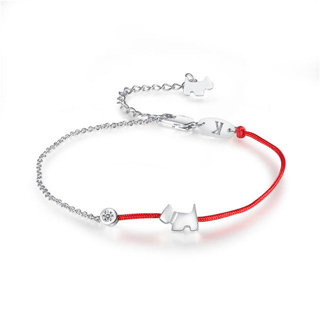 Red Rope Bracelet and Dog Charm