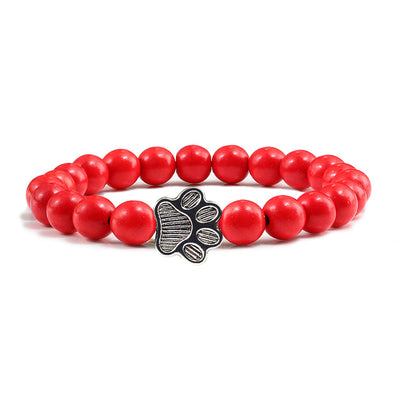 Natural Stone Pawprint Bracelet