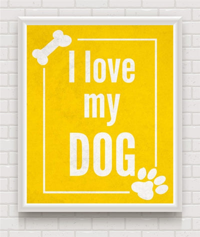 Love My Dog Yellow Vintage Poster Print