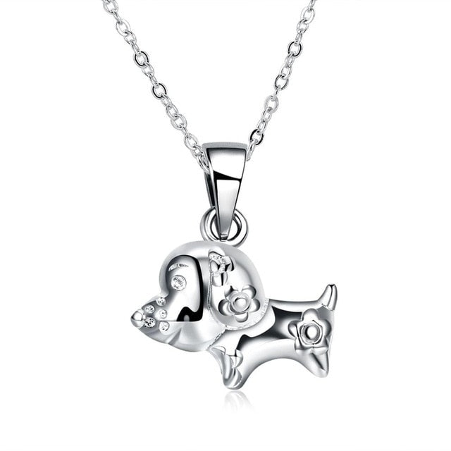 Flower Dog Pendant Necklace