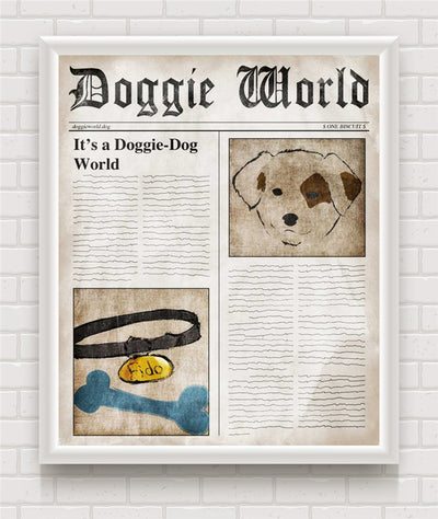 Doggie World News Vintage Poster Print