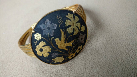 damascenes gold cuff bracelet - one of a kind