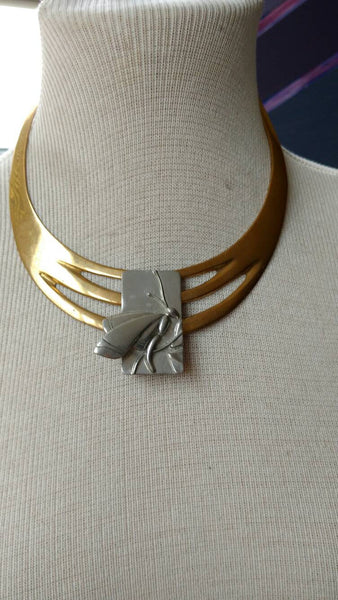 Butterfly necklace // silver and brass// handmade jewelry// neck collar// boho chic // hippie chic// gift for her//