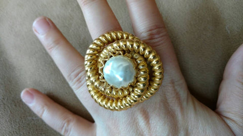 gold swirl + pearl ring - one of a kind