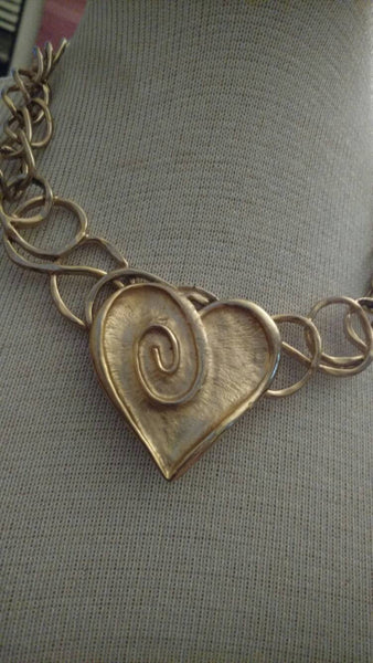 Heart necklace// gold jewelry// upcycled necklace// scribble // unusual // fashion jewelry// upcycled necklace// holiday jewelry// gift