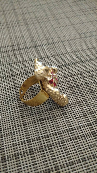 Teddy Bear Ring// gold// vintage//adjustable// gift for her // Christmas // made in Chicago// TRUTHORWEAR