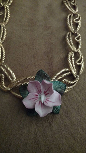 Sale Flower necklace// upcycled jewelry// jewelry// fashion jewellery// made in Chicago// handmade// one of a kind // ladylike jewellery
