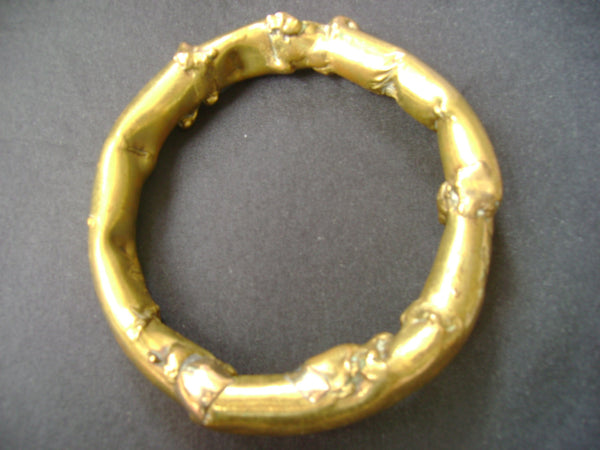 Vintage Artisan Gold Bangle Bracelet 1980s
