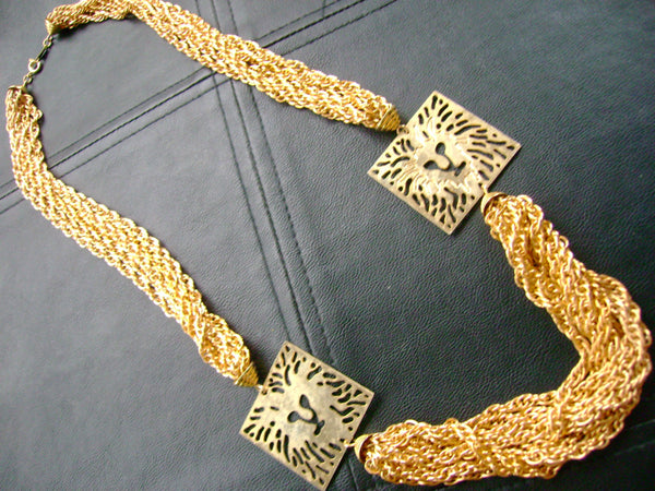 Lion Necklace // Handmade // Vintage // Fashion Jewelry // Gold Jewelry // Elegant Necklace // Gift for Her // made in Chicago // lion