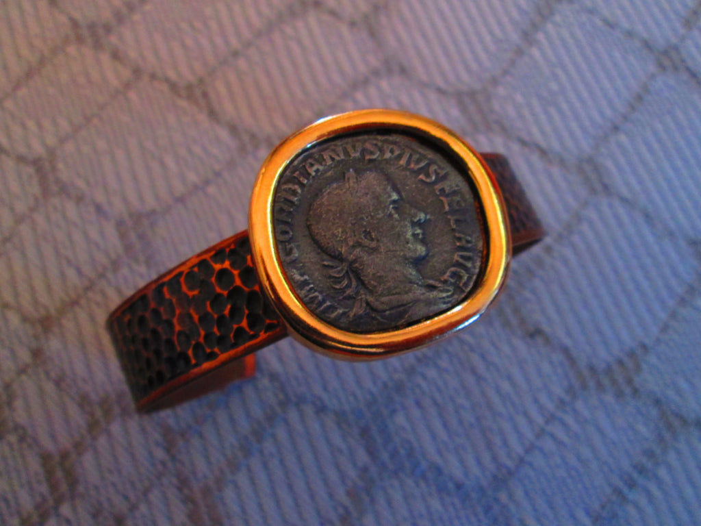 coin cuff bracelet// handmade// roman coin//mixed metals// upcycled jewelry//gift for her// one of a kind//made in chicago//fashion bracelet