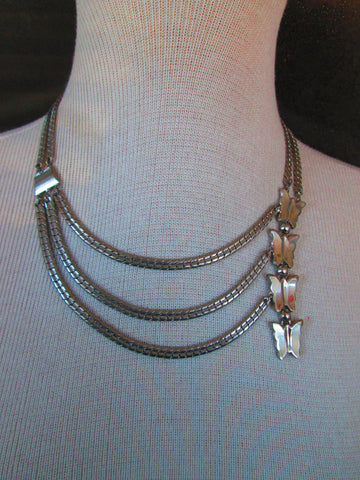 1960 butterfly silver necklace