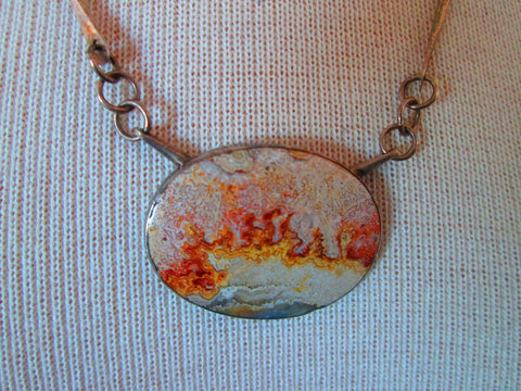 1970 artisan polished stone necklace
