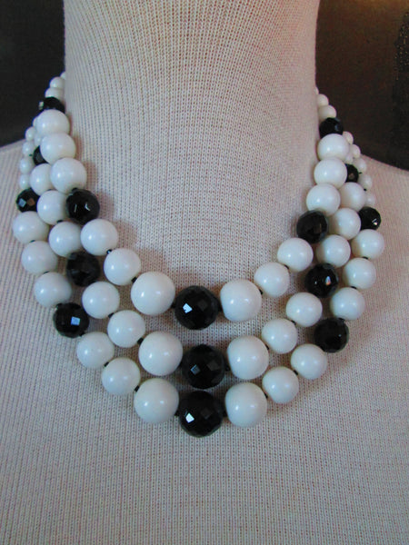 sale necklace Vintage Black and White Triple Strand Necklace 1960s