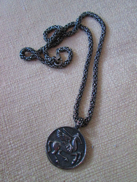 sale coin necklace// silver// Vintage Romanesque Coin Necklace 1990