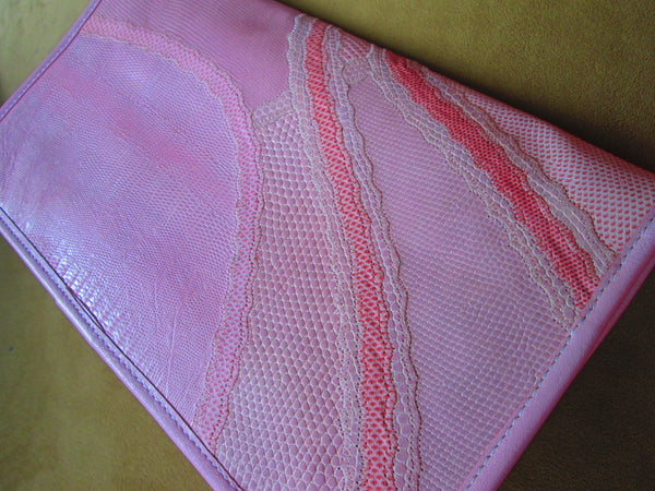 Carlos Falchi Clutch Purse// Snakeskin // Vintage// 1980s// Pink// Leather// Ladylike // Gift for Her